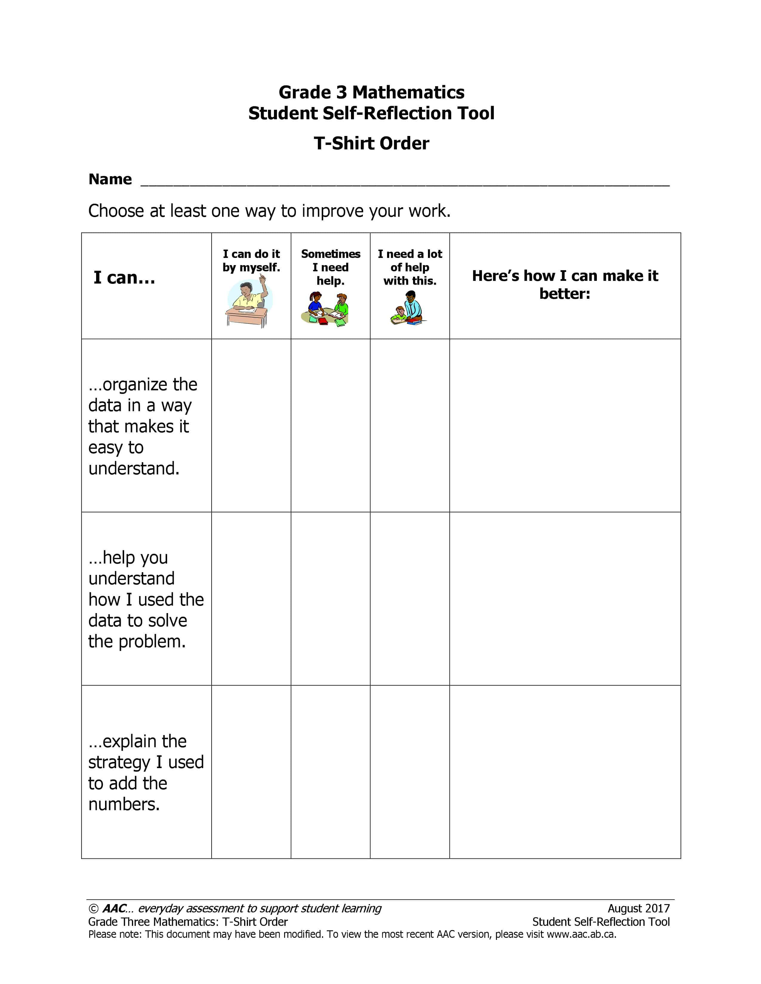 The T-Shirt Order (Grade 3) - Alberta Assessment Consortium